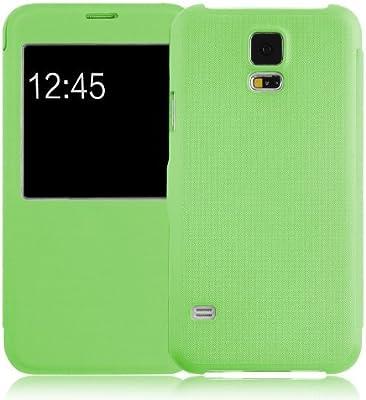 JAMMYLIZARD Carcasa Galaxy S5 Funda Flip Cover con Ventana de Apertura para Samsung Galaxy S5/S5 Neo/S5 Plus, Verde