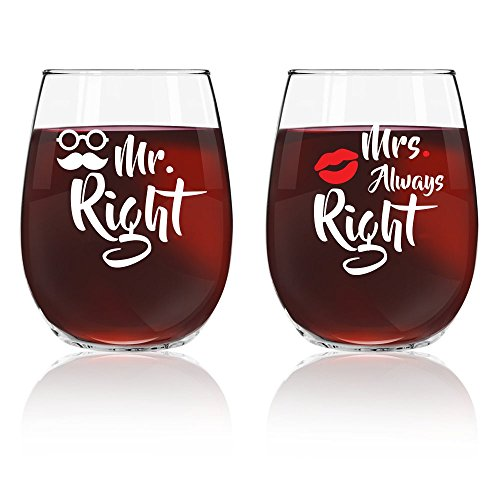 Mr Right and Mrs Always Right Gift Wine Glasses Set / Unique ideas / 16 oz / Vino O'clock (White) (Best Wine Gift Sets)