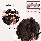 Igennki Hand Tied Mono Top Hair Pieces Human Hair Topper Clip In Hair Wiglets For Women Thinning Hair,Hair Loss (Base 1.6''3.1'', Brown)