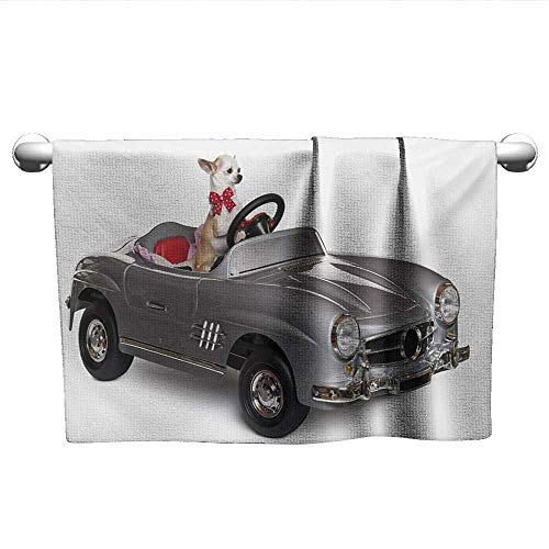 alisoso Dog Driver,Hand Towel Chihuahua Puppy in The Car with Bow Tie Fashion Auto Fancy First Studio Shot Microfiber Sports Multicolor W 28