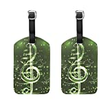 Set of 2 Luggage Tags Music Musical Note Suitcase Labels Travel Accessories