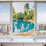 3D Decorative Privacy Window Films,Umbrella and Chair Around the Round Outdoor Pool Tourist Space Famous Spots Concept,No-Glue Self Static Cling Glass film for Home Bedroom Bathroom Kitchen Office 24x