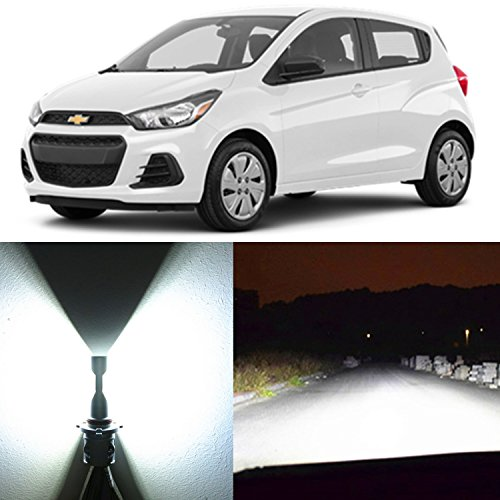 Alla Lighting 2pcs Super Bright 6000K Xenon White H13 H13LL 9008 LED Bulbs High Low Dual Beam Headlight Conversion Kits Replacement for 2013~2017 Chevrolet Chevy Spark/Spark EV