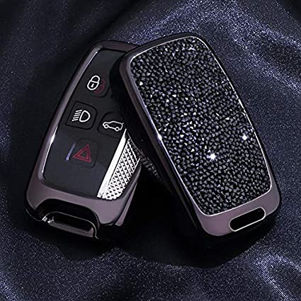 5 Buttons 3D Bling Fashion Girly keyless Remote Smart Key Fob case Cover for Land Rover Defender Discovery Sport LR3 LR4 Range Rover Sport EVOQUE and Jaguar XF XJ XJL XE F-PACE Royalfox Black TM