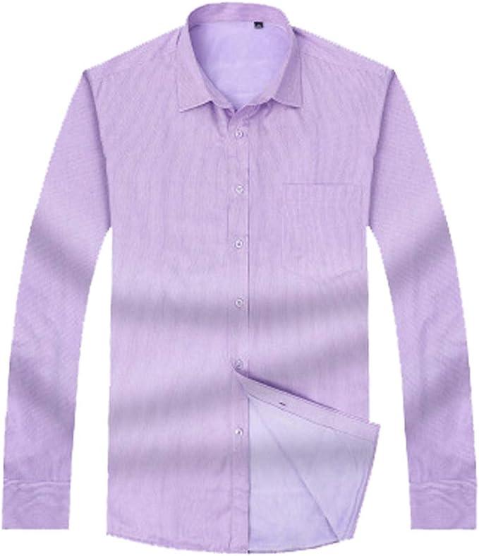Camisa para Hombre Camisas de Franela, además de Terciopelo botón Raya Gruesa Solapa de la Manga Larga Slim-Fit Plus Gran Tamaño (L-8XL), Púrpura, XL: Amazon.es: Ropa y accesorios