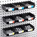 """3, 6, 9, or 12 Pack Pegboard Bins - Hooks to both 1/4"""" + 1/8"""" Hole Peg Board - Organize Hardware, Accessories, Attachments, Workbench, Garage Storage, Craft Room, Tool Shed, Hobby Supplies, Small Part"""