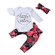 OUTGLE Newborn Baby Girl Toddler Little Sister Romper + Floral Legging + Headband Clothing Set Outfits, Red, 0 - 6 Months