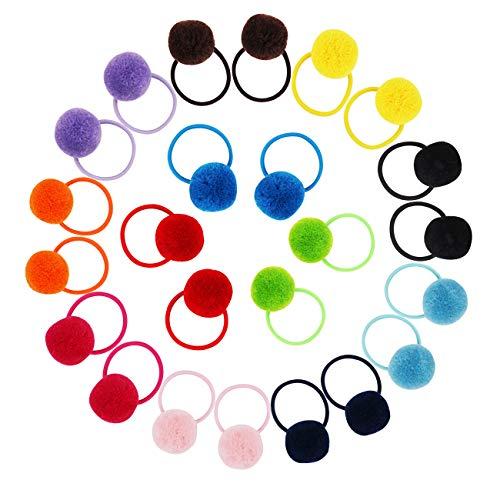 Candygirl 24 Pcs Girls Fluffy Ball Elastic Ties,Ball Ponytail Holders,Hair Bands,Hair Elastics,Value Set (fluffy ball 24pcs)