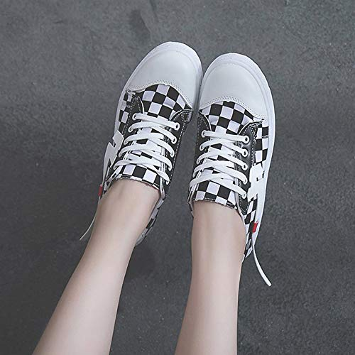 Toe Mujer Zapatos ZHZNVX Flat Round Heel de Black Comfort Summer Canvas Red Sneakers Black fZvFnxv