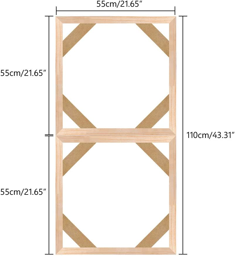 Wood Stretcher Bars Painting Canvas Wooden Frame for Gallery Wrap Oil Painting,Needlepoint Arts Stretcher Bars DIY,Canvas Mounting Frames,20x20cm//8x8