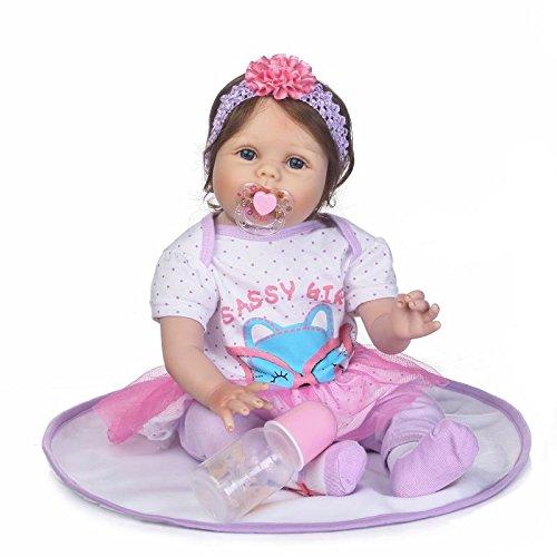 ZELY Realistica Ragazza Dolls Silicone Vinyl 22 inch 55 cm Reborn Bambole Neonatale Girls Giocattolo Magnetica Bocca