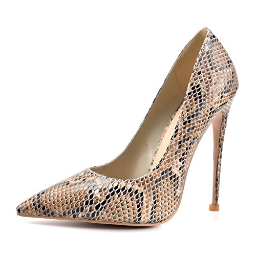 100FIXEO Brown Snake Women Elegant Pointy Toe Spikes High Heels Dress Pumps Shoes Size 6 (B) M US