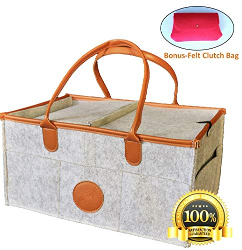 er | Portable Nursery Storage Bin | Nappy Basket for Changing Table | Car/Toy Organiser - Grey ()