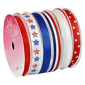 Morex-Ribbon-6-Pack-PolyesterNylon-Sweet-Petite-Ribbon-Patriotic-39-Yd