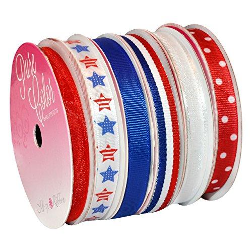 Morex Ribbon 6-Pack Polyester/Nylon Sweet Petite Ribbon, Patriotic, 39-Yd - Ribbon American