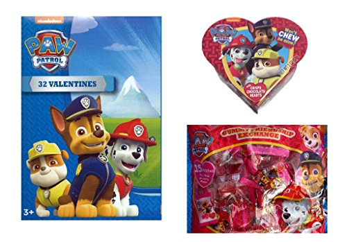 (Paw Patrol Valentine's Day Classroom Exchange Bundle: 32 Count Valentine Cards, Gummy Pouches (15 Count), and Heart Gift Box with Chocolate Heart Candy)