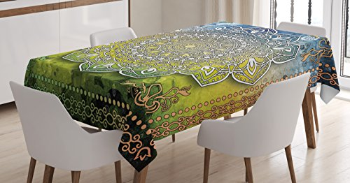 Ambesonne Ethnic Tablecloth, Mystic Asian Mandala Zen Culture Chakra Karma Calmness and Harmony Icon Boho Design, Dining Room Kitchen Rectangular Table Cover, 52 W X 70 L inches, Multicolor