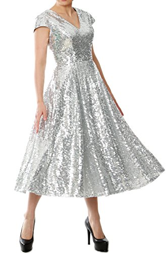 MACloth Tea V Dress Cap Fuchsia Sleeve Gown Length Evening Sequin Neck Women Bridesmaid rBZxqwr