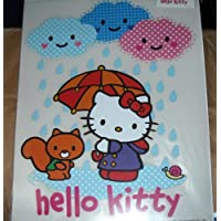Hello Kitty Iron-On Transfer - Kitty with Umbrella under Smiling Rain Clouds