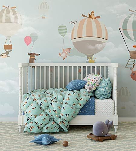 amazon com animal balloon safari nursery wallpaper hot air balloon