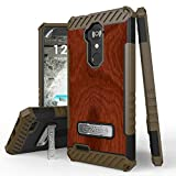 zte blade 3 case - de X Max, Max XL, Blade Max 3, Zmax Pro, Grand X Max 2, Imperial Max, Max Duo Case, Trishield Durable Phone Cover With Kickstand Card Cut Out - Wood Brown