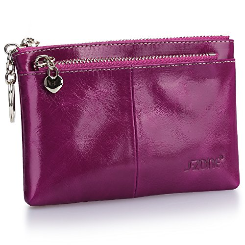 S-ZONE Women's Genuine Leather Mini Wallet Change Coin Purse Card Holder with Key Ring (Purple) (Card Holder Purse Change)