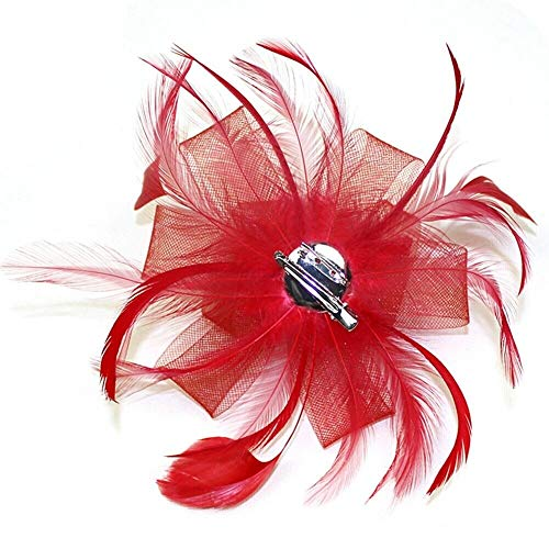 (Women Mesh Corsage Hair Clip Flower Fascinator Feather Hairpin Party Wedding New (ColourID - Red) )