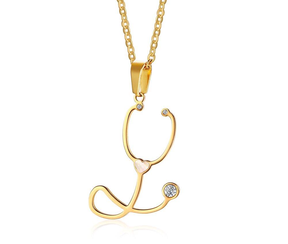 BeautySalon Womens Stainless Steel Stethoscope Heart Pendant Necklace Medical Nurse Doctor Love Gift