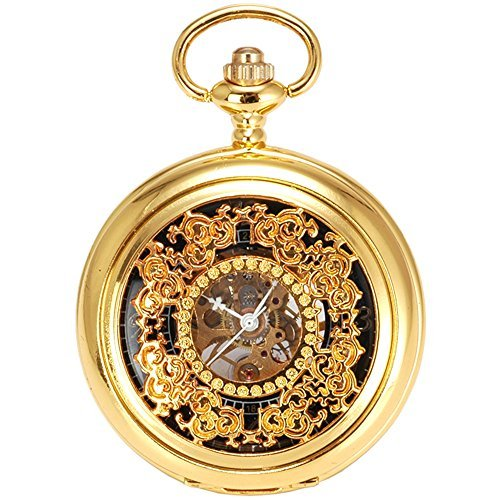 Gold Plated Mens Skeleton Mechanical Hand Winding Pocket Watch