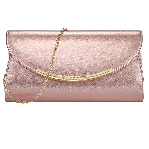 Womens Evening Clutch Bridal Prom Handbag shoulder bag Party Bag Wedding Purse with Detachable Chain (ROSE ()