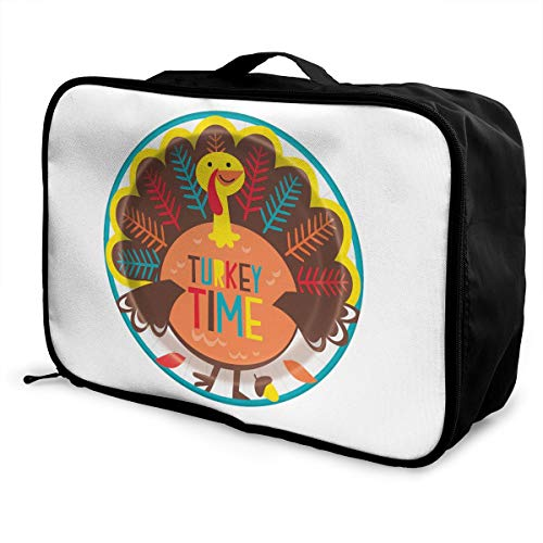 Thanksgiving Turkey Time Lightweight Large Capacity Portable Luggage Bag Fashion Travel Duffel Bag