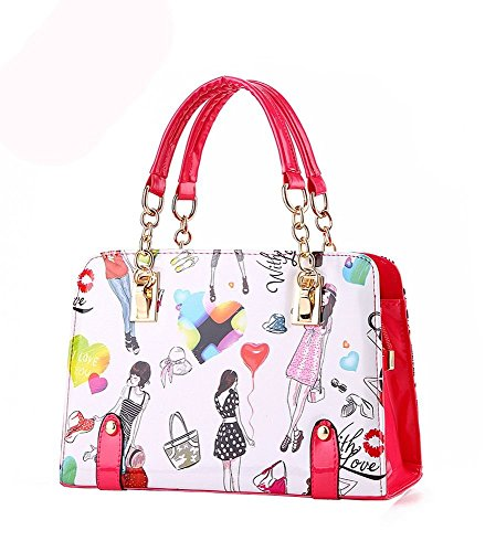 Desklets Womens Cartoon PU Leather Vintage Tote Bags Top Handle Lobely Handbag(Red)