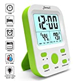 Alarm Clock Battery Operated, Jiemei Digital Alarm Clocks for Kids and Adults with Snooze Function, LCD Large Display, Smart Backlight (Green)
