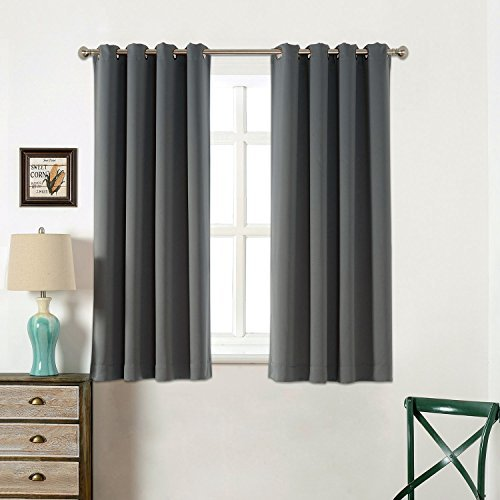 Sleep Well Curtains Blackout Toxic Free Energy Smart Thermal Insulated,52 W X 63 L Inch,Grommet Top,Set Of 2 Panels With Bonus Tie Back(Charcoal Grey)