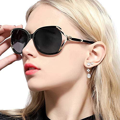 FIMILU Women's Classic Oversized Polarized Sunglasses Elegant Fashion Rhinestone Design for Driving Shopping Travelling (Brown Frame/Gradient Brown Lens Oversized Polarized ()
