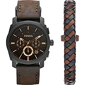 Fossil Mens Machine Watch and Bracelet Box Set – FS5251SET