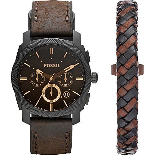 Fossil Mens Machine Watch and Bracelet Box Set – FS5251SET