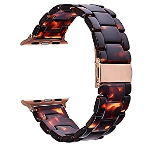 V-MORO Resin Strap Compatible with Apple Watch Band 38mm 40mm Series 5/4/3/2/1 Women Men with Stainless Steel Buckle, Apple Watch Replacement Wristband Strap(Tortoise-Tone, 38mm)
