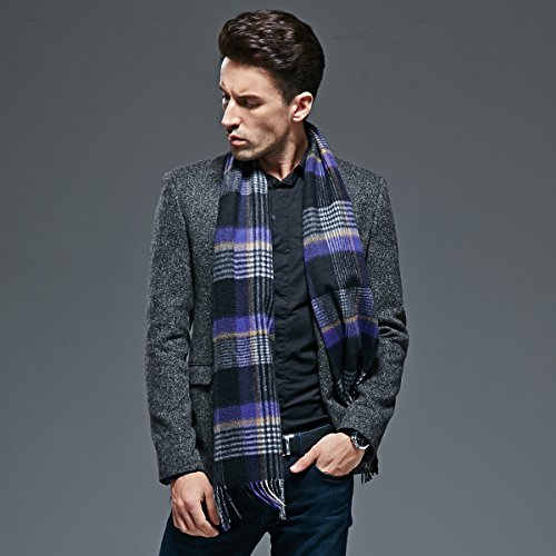Autumn and winter men thick warm scarf Plaid Wool Cashmere Scarf by KYXXLD