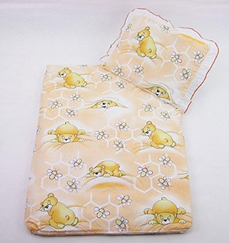Rawstyle 2 tlg. Set BEZUG für Kinderwagen Garnitur Bettwäsche Decke + Kissen NEU (Honig Orange)