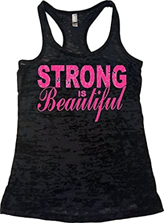 Orange Arrow Womens Workout Clothing (S, Black) - Strong Is Beautiful - Running Tank Top