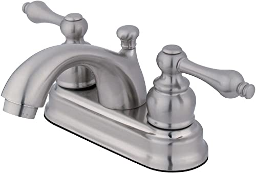 Kingston Brass GKB2608AL Vintage 4-inch Centerset Lavatory Faucet with Retail Pop-up, Brushed Nickel