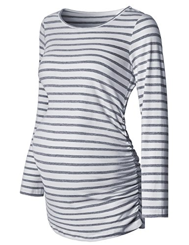Ruched Maternity Shirt,Striped Scoop Neck long Sleeve Tunic Tops,Maternity clothing Casual for...