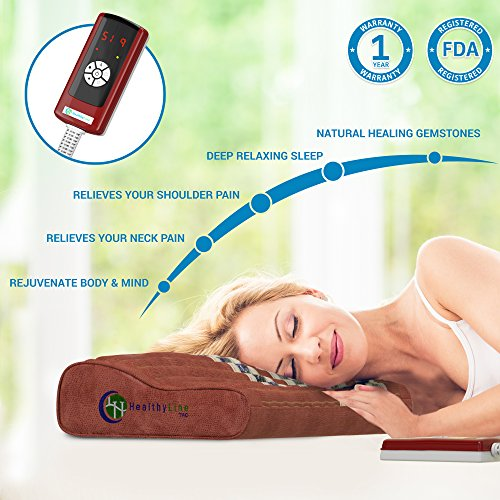 HealthyLine InfraMat Pro Amethyst Pillow for Neck and Shoulders Pain Relief (Firm 18''x 10'') Shoulders are Infrared Heated Only - Adjustable Temperature Setting - No EMF, FDA, 1-Year Warranty by HealthyLine (Image #1)