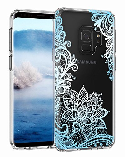 Casetego Compatible Galaxy S9 Case,Clear Soft Flexible TPU Case Rubber Silicone Skin with Flowers Floral IMD Printed Back Cover for Samsung Galaxy S9-Blue Flower