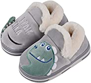YWY Kids House Slippers Boys Girls Dinosaur Home Slippers Memory Foam Comfy Bedroom Slippers Winter Warm Indoo