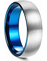 Duo 8mm Blue Domed Titanium Ring Wedding Engagement Band Brushed Matte Polish Finished Comfort Fit