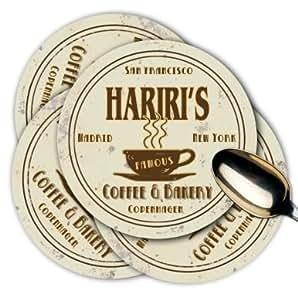HARIRI'S Coffee & Bakery Coasters Set of 4