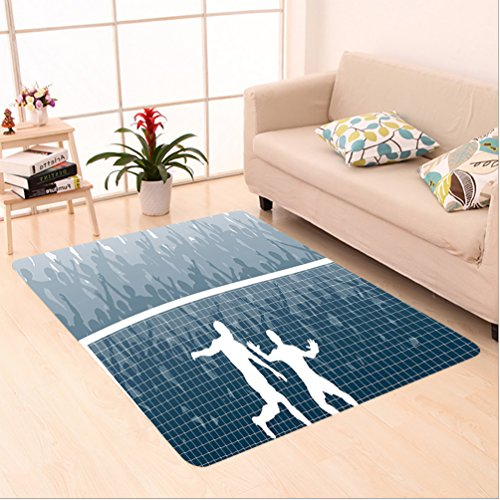 Nalahome Custom carpet lustration of A Cheering Crowd Silhouette Watching Penalty Kick in Soccer Match Print Blue White area rugs for Living Dining Room Bedroom Hallway Office Carpet (5' X 7') by Nalahome