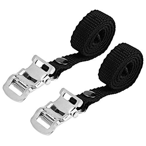 (Mmrm Black Bike Cycling Pedal Nylon Pair Clips Replacement Pedal Toe Straps)